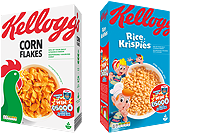 Kelloggs Corn Flakes and Rice Krispies packs